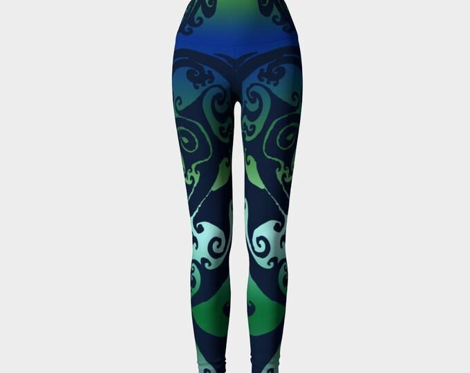 North Atlantic, Blue Green Ombre, Swirl, Traditional Celtic Spiral, Yoga Raver Pants, Festival, Yoga, Ocean Colors, Athletic Wear, Leggings,