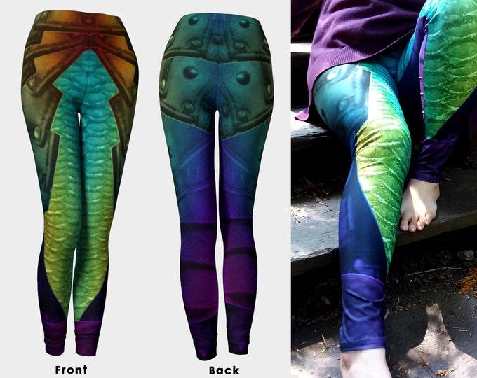 Rainbow Mermaid Armor, Print Leggings, Mermaid, Mermaid Armor, Mermaid Scale, Rainbow, Fantasy, Cosplay, Steampunk, Medieval,Armor, Leggings