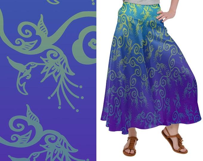 Palazzo Pants, Hummingbird Ombre, Purple, Blue, Flowers, Bird, Wide Leg Pants, Satin Pants, Baggy Pants, Floral, Hand Drawn, Original Art