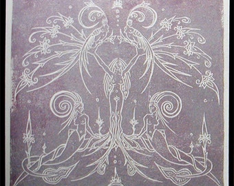 Mythical Landscape - Microcosmogram in Metallic Lavendar - Framed Poster Print - Dryad - Capricorn - Siren - Tree Woman - Decorative Arts