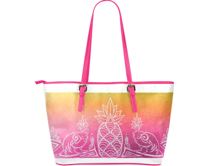 Sirens & Pineapple, Pink Gold Tote Bag, Vegan Leather, Imitation Leather, Tropical, Fantasy, Mythical Characters, Bird Ladies, Original Art