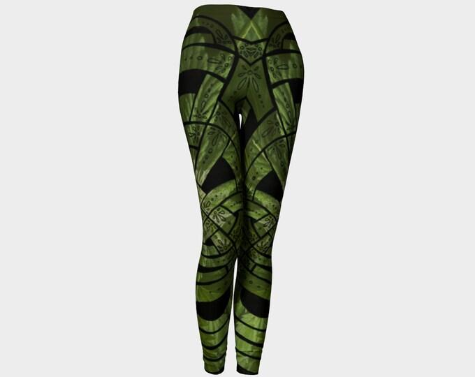 Humboldt, Celtic Knot, Leaf Leggings, Green, Cannabis, Marijuana, Leaf, Leaves, Boho, Original Art, Art Tights, Festival, Adult, Leggings
