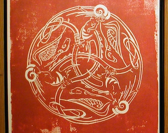 Dragon Ladies in Red Ink on Beige - Framed - Chimerical Wallflowers - Red Dragon Lady - Decorative Arts - Printmaking