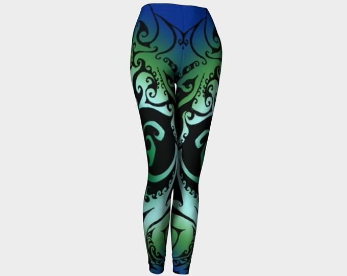 North Atlantic II, Blue Green Ombre, Traditional Celtic Spiral Yoga Raver Pants, Swirl, Festival, Ocean Colors, Athletic Wear, Leggings