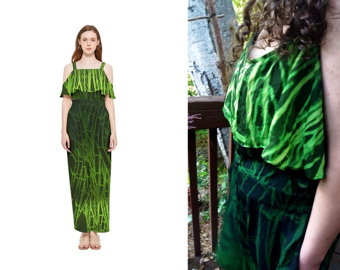 Jumpsuit, Green Bamboo, One Piece, Summer, Onesie, Chiffon, Green, Black, Bamboo Print, Pockets, Romper, Ladies, Womens, Art by Caballera