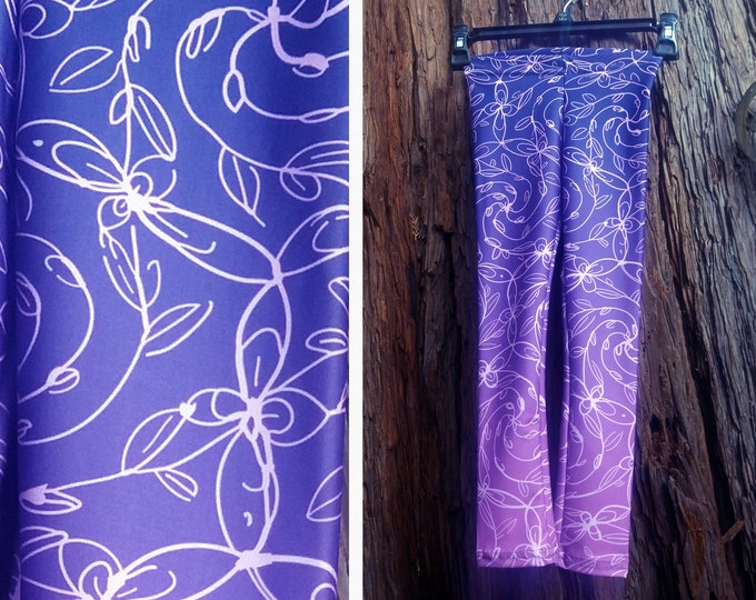 Spiral Vines, Kids Pants, Pink and Purple Ombre, Flowers, Boho Chic, Celtic Spiral, Kids Size, Mommy and Me Matching Outfits, Original Art