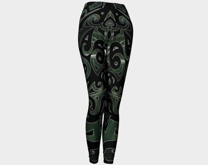 Nephrite Jade, PsyPaisley, Leggings, Black, Green, Swirl, Jade, Festival, Rave, Psychedelic, Paisley, Art Tights, Art Pants, Original Art