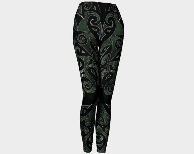 Nephrite Jade III, PsyPaisley, Leggings, Black, Green, Swirl, Jade, Festival, Rave, Psychedelic,Paisley, Art Tights, Art Pants,Original Art