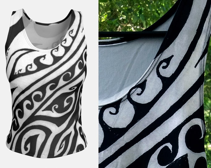 Shark Away!, Black and White Swirly Top, Greek, Polynesian, Spiral, Shark Top, Waves, Striped Top, Symmetry, Shark Repellent, Original Art