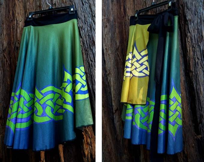 Celtic Briar, Wrap Skirt, Green, Gold, Purple, Ombre, One Size Fits All, Plus Size, Celtic, Knot, St Patricks Day, Irish Dance, Original Art