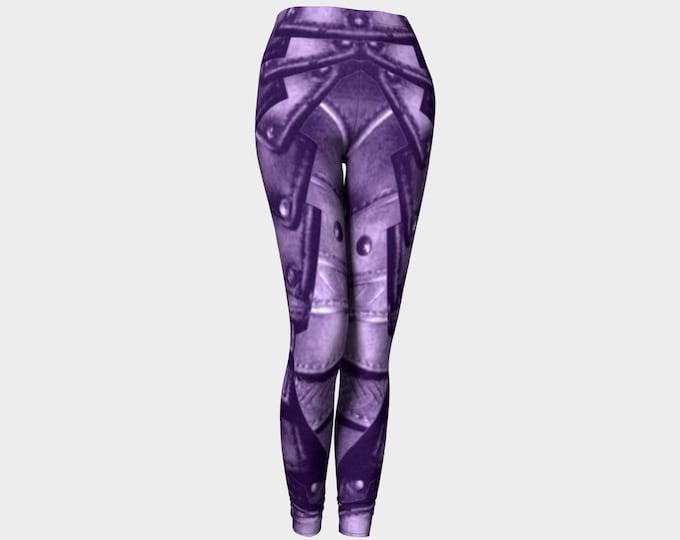 Royal Purple Rivet Armor Print Leggings, Royal Purple, Armor, Dark Purple, Fantasy, Cosplay, Steampunk, Medieval, Armor, Leggings, Pants