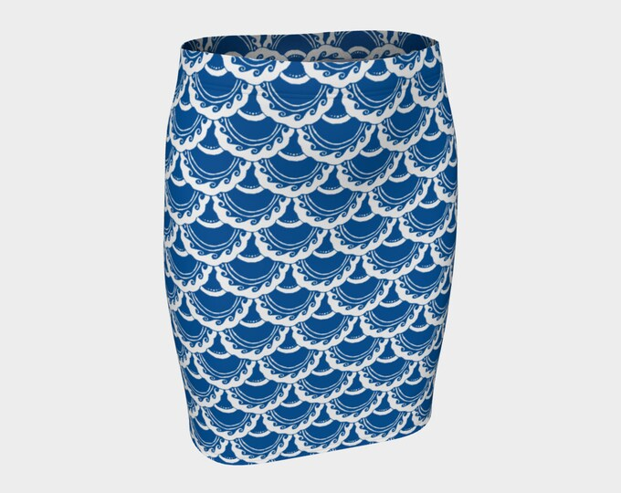 Swirly Mermaid Skirt, Blue, White, Mermaid, Mermaid Scale, Mermaid Skirt, Mini Skirt,Short Skirt,Skirt, Fish Scale, Hand Drawn, Original Art