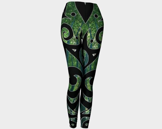 Kaguya, PsyPaisley, Leggings, Black, Green, Bamboo, Forest, Swirl, Festival, Rave, Psychedelic, Paisley, Art Tights, Art Pants, Original Art