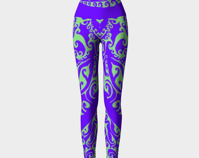 Fillmore, Psychedelic Yoga Leggings, Purple, Green, 60's Rock Poster, 60's Colors, Boho,Festival,Rave, Psychedelic, Original Art, Hand Drawn