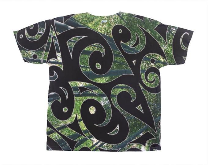 Kaguya, Psypaisley, Tee Shirt, Black, Green, Bamboo, Forest, Swirl, Festival, Rave, Psychedelic, Paisley, Art Tee, Original Art, Hand Drawn