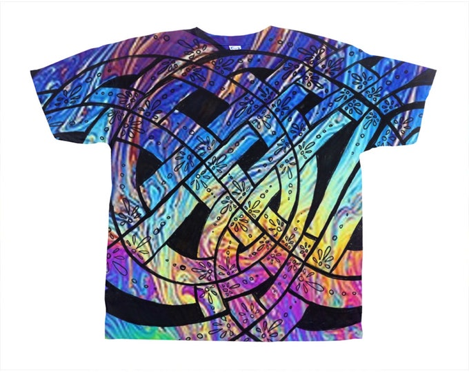 Liquid Rainbow, Celtic Knot Tee, Rainbow Tee, Psychedelic, Trippy, T Shirt, Rainbow, Pride, Rave, Party, Festival, Original Art, Hand Drawn