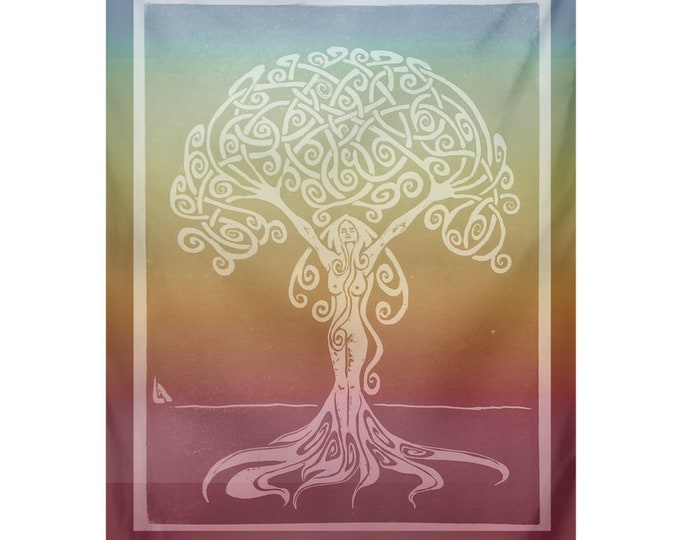 Sunrise Dryad, Tapestry, Indoor or Outdoor, Rainbow, Tree, Goddess, Woman,Goddess Art,Girl Power,Fabulous Wallflowers,Original Art,Caballera