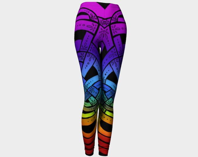 OMG Rainbow!, Celtic Knot Leggings, Rainbow Leggings, Ombre, Rainbow Pants, Floral, Deco, Pride, Rave, Party, Festival, Original Ink Drawing