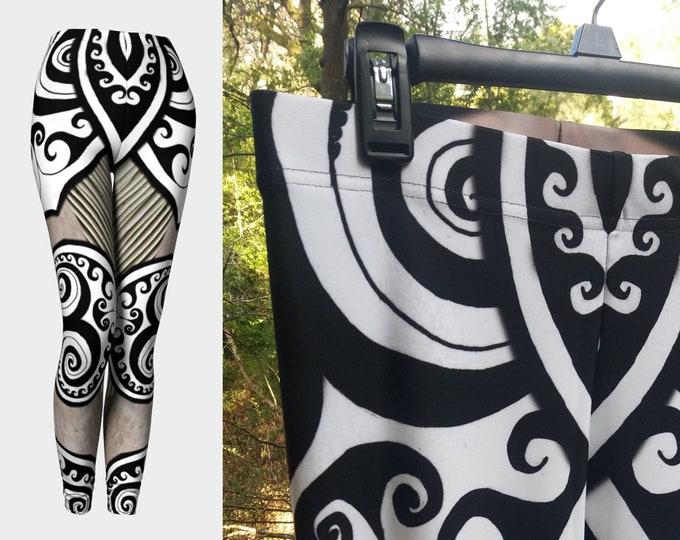 Flower Faerie Mermaid Armor, Leggings, Fairy, Striped, Steampunk, Festival,Rave, Black White, Swirl, Celtic Spiral, Hand Drawn, Original Art