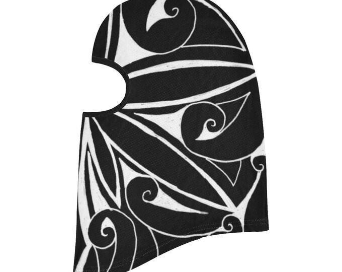 Ninja Leaf 2, Balaclava, Geometric, Face Mask, Black,White, Ninja Mask, Swirl, Leaf, Head Scarf, Face Cover, Scarf, Original Art, Hand Drawn