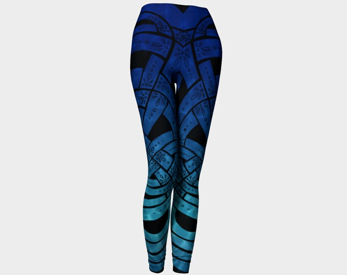 Suboceana, Celtic Reflective Pool, Celtic Knot Leggings, Ombre Leggings, Ombre, Water, Ocean, Pool, Blue, Ultramarine, Original Ink Drawing