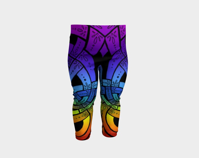 OMG Rainbow!, Baby Leggings, Celtic Knot, Rainbow Ombre, Rainbow Baby Pants, Floral, Deco, Party, Festival, Baby Size, Original Ink Drawing