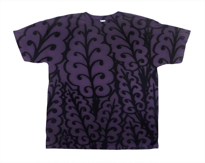 Medieval Leaves, Royal Purple Tee, Original Art, Designer Tee, Wild Print, T Shirt,Graphic Tee, Art Tee, Hand Drawn, Original Drawing