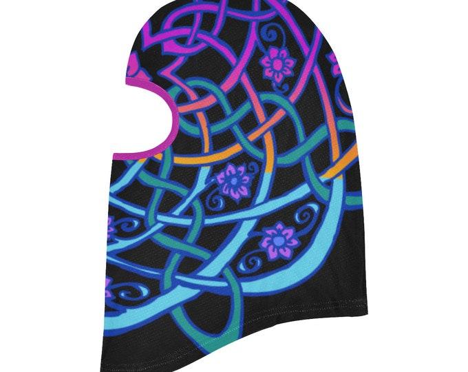 Celtic Mandala, Blacklight Rainbow, Balaclava, Purple, Blue, Flower, Headscarf, Celtic, Festival, Rave, Ninja Mask, Original Art, Hand Drawn