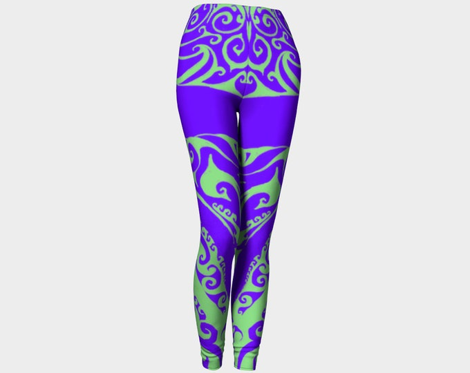 Fillmore II, 60's Rock Poster Inspired, Leggings, Purple, Green, 60's Colors, Psychedelic, Boho, Festival, Rave, Original Art, Hand Drawn
