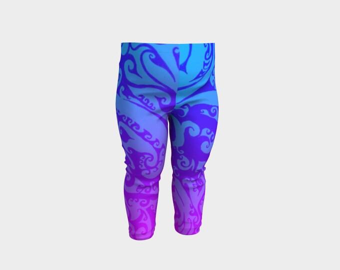Katara's Favorite, Baby Leggings, Pink Purple Blue Ombre, Swirl, Celtic Spiral, Festival, Baby Size, 6m, 12m, 2T, 3T, Pants, Original Art
