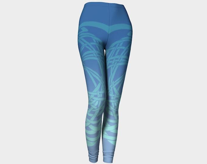 Meandering Knot II, Light Blues, Ombre Leggings, Celtic Knot, Sky Blue, Spring, Workout, Dance, Yoga, Tough, Celtic Leggings, Original Art