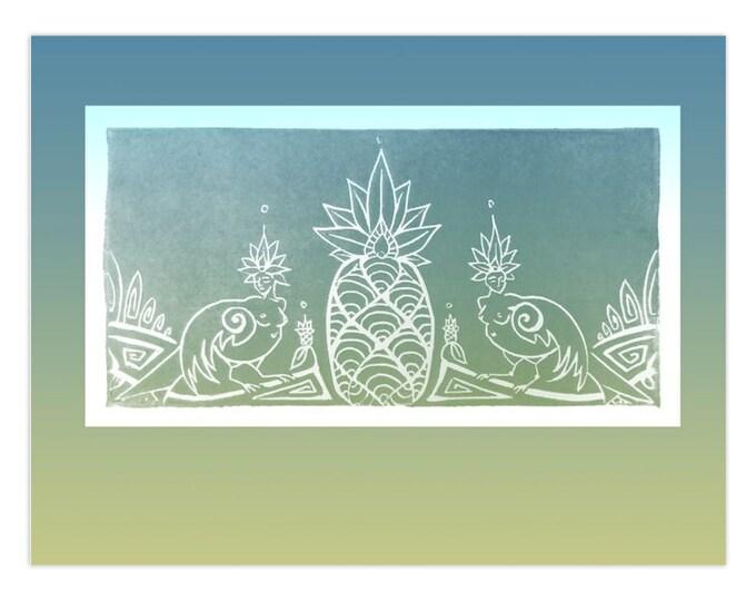 Sirens & Pineapple, Note Cards, 5pk or 10pk, Blue, Gold, Bird, Goddess, Woman, Girl Power, Greeting Card, Fabulous Wallflowers,Original Art