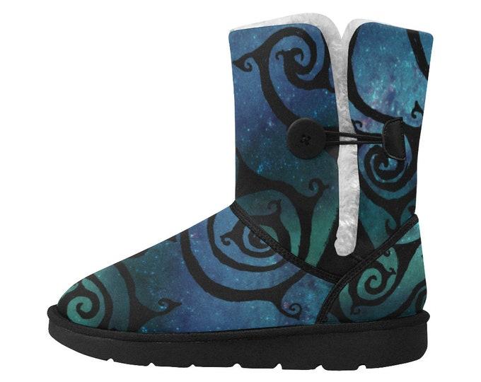 Celtic Spirals Snow Boots, Blue Galaxy, Spiral, Designer Boot, Spiral Boot, Galaxy, Graphic Boot, Art Boots, Hand Drawn, Original Drawing