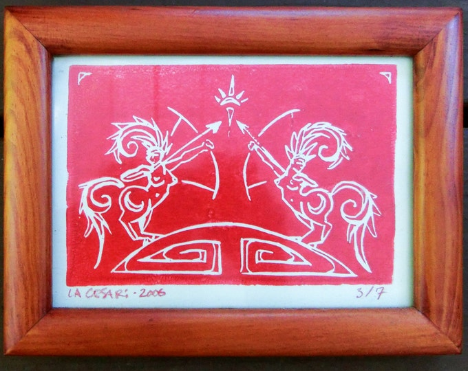 Sagittarius, Handmade Print, Red Ink on Beige - Framed - Horse Woman - Bow and Arrow - Archery - Decorative Arts - Laura Cesari