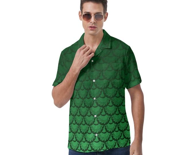 Button-Up Shirt, Fish Scale, Green Ombre, Ocean, Mermaid Scales, Hawaiian Shirt, Large Sizes, Button Up Shirt, Hand Drawn, Original Art