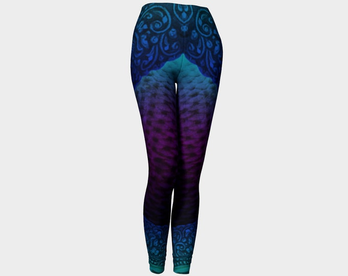 Turquoise & Purple Filigree Mecha Mermaid Armor Leggings, Armor, LARP Armor, Fantasy, Cosplay, Halloween, DnD, Mermaid, Festival, Leggings
