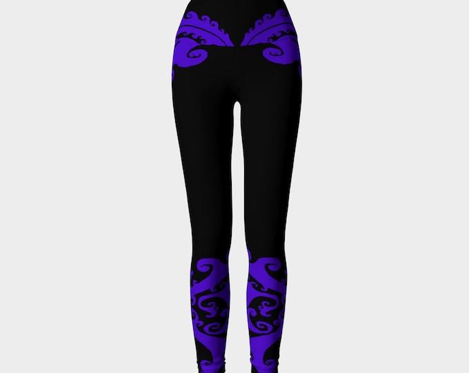 Purple Dragon Lady, Purple and Black, Yoga Pants, Swirl, Traditional Celtic Spiral, Festival, Purple, Deep Purple, Athletic Wear, Leggings,