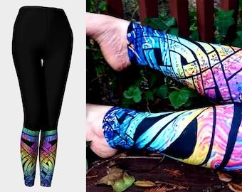 Liquid Rainbow III, Celtic Knot Leggings, Rainbow Pants, Psychedelic, Trippy, Floral, Deco,Pride, Rave, Dance,Festival, Original Ink Drawing
