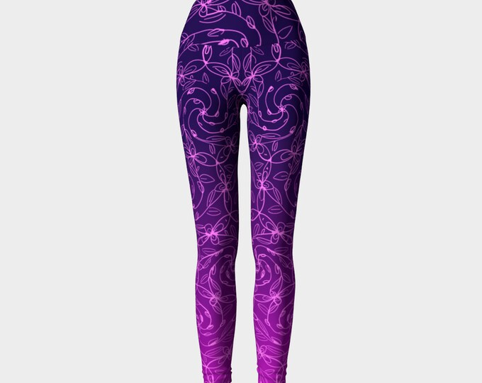 Spiral Vines, Pink and Purple Ombre, Yoga Pants, Flowers, Boho Chic, Celtic Spiral, from Original Art by Laura Cesari and Jeremy Richardson