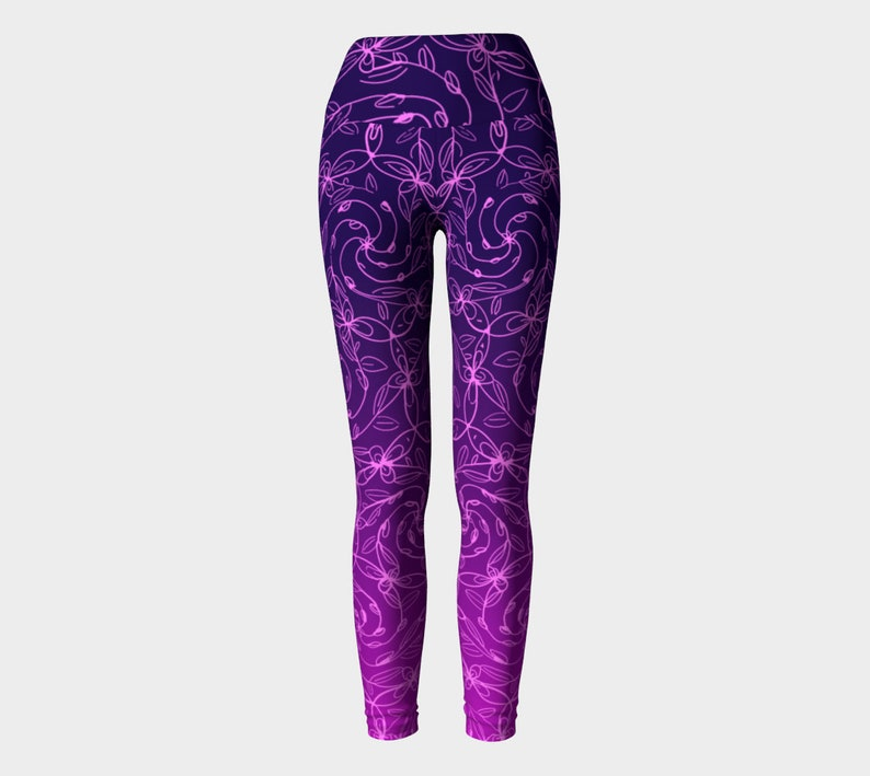 Spiral Vines Pink and Purple Ombre Yoga Pants Flowers Boho image 0
