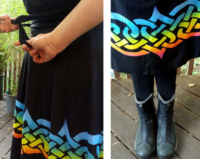 Celtic Briar, Rainbow, Ombre, Wrap Skirt, Plus Size,Twirl Skirt, Celtic Knot,Celtic, St Patricks Day, Irish Dance, Hand Drawn, Original Art