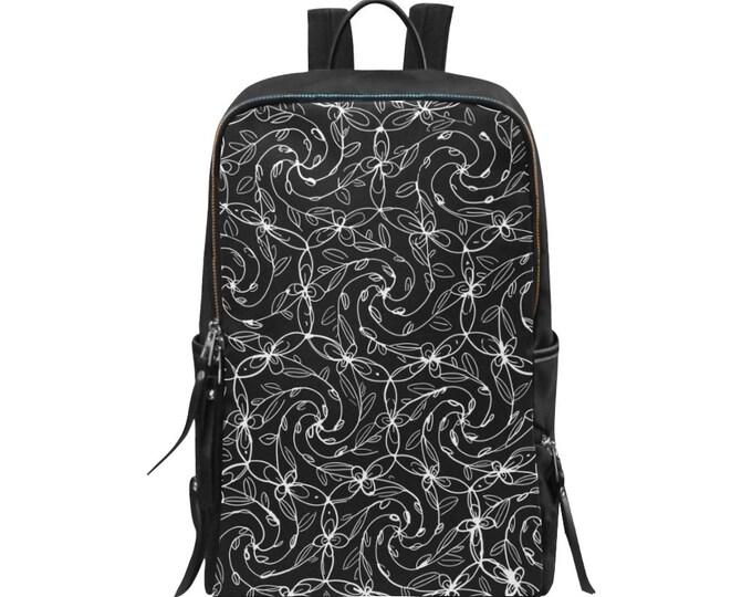 Spiral Vines, Lady Backpack, Black and White, Lolita, Celtic Spiral, Flowers, Boho, Floral, Swirl, Pockets, Zipper, Original Art, Hand Drawn