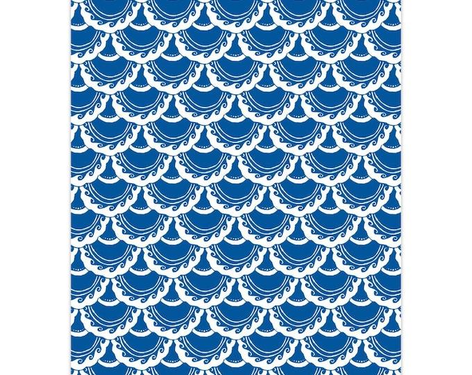 Swirly Mermaid, Note Card, 5 or 10pk, Blue, White, Mermaid, Mermaid Scale, Fish Scale, Mermaid Card,Greeting Card, Hand Drawn, Original Art