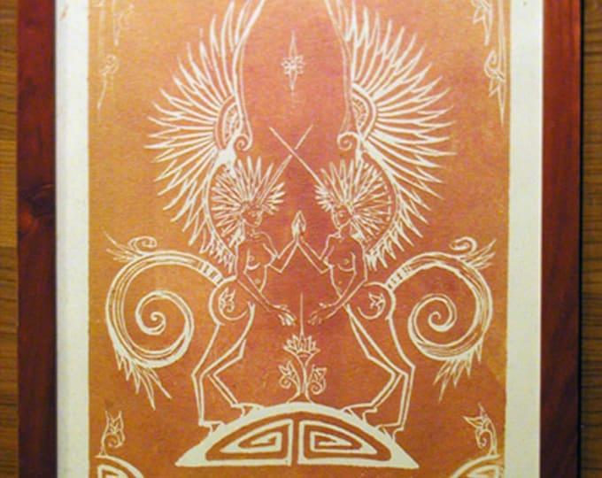 Pegasus - Gold and Magenta on Beige - Framed Print - Poster Print - Shiny Metallic - Decorative Arts - Printmaking - Gold Pegasus