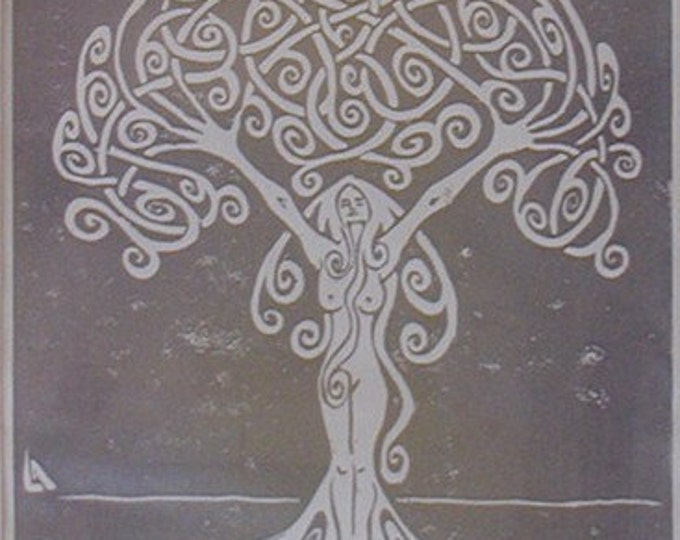 Sunrise Dryad - Tree Woman - Silver on White - Hand-Printed - Unframed