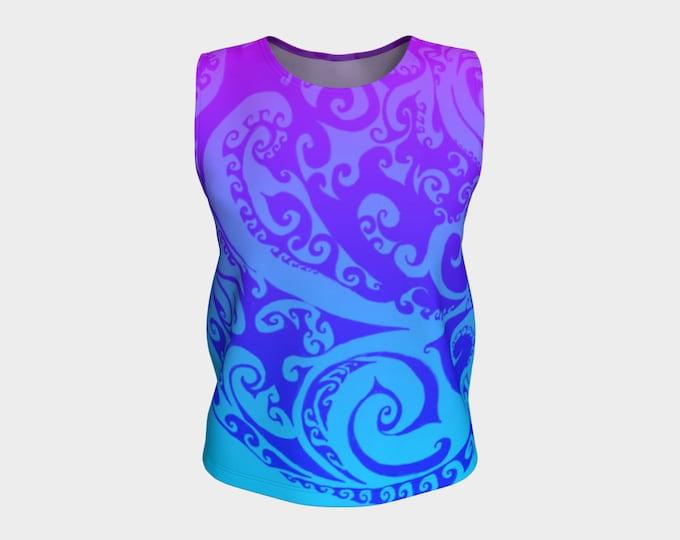 Katara's Favorite II, Loose Tank Top, Pink Purple Blue Ombre, Swirl, Celtic Spiral, Rave, Ombre Tank, Water Tribe Festival Top, Original Art
