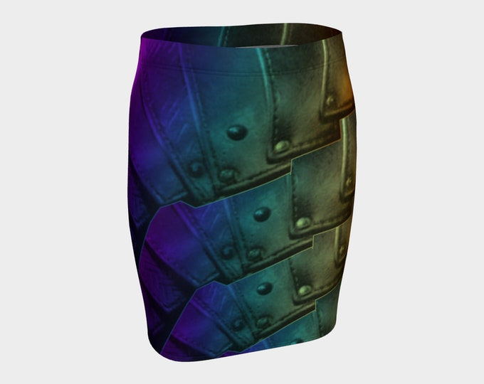 Rainbow Rivet Armor Mini Skirt, Armor Print, Rivet, Rainbow, Warrior, Ombre, Fantasy, Cosplay, Steampunk, Medieval, Armor, Magic, Stretchy