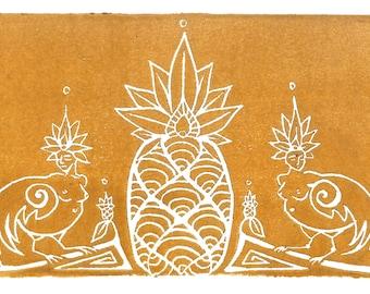 Sirens & Pineapple - Handmade Block Print - Gold Metallic Ink - Magical Creatures - Unframed