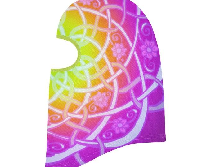 Celtic Mandala, Wild Rainbow Burnout, Balaclava,  Blacklight, Flower, Headscarf, Celtic, Festival,Rave, Ninja Mask, Original Art, Hand Drawn
