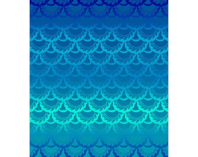 Swirly Mermaid, Note Card, 5pk or 10pk, Blue, Ombre, Mermaid, Mermaid Scale,Fish Scale, Mermaid Card,Greeting Card, Hand Drawn, Original Art
